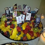 Fruit platter with the authors' book cover flags