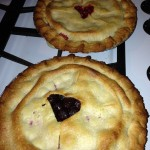The delicious cherry pies were inspired by ALICE BLISS! - No canned cherries. I had frozen pitted tart cherries and used them to make the pies. The key is to make sure the liquid is drained before adding it to the pie. Less the better. Yum!