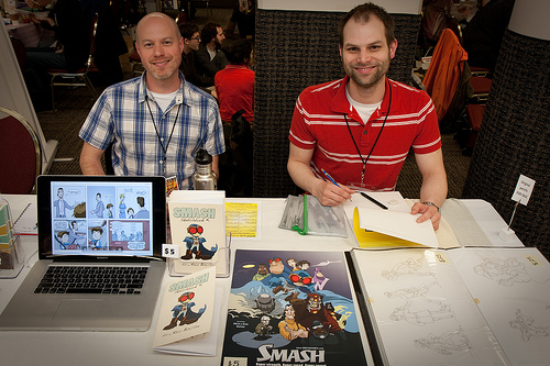 Chris and Kyle Bolton from Smash Comics.