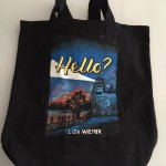 The HELLO? tote bag made by Becca of Pivot Book Reviews